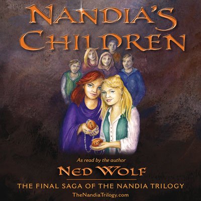 Nandia's Children front cover. Image of family. Mother handing sacred necklace to daughter.