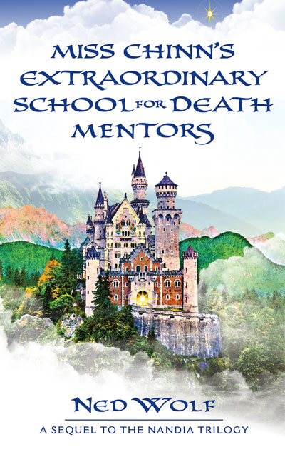 Miss Chinn's Extraordinary School for Death Mentors front cover featuring a castle filled wiht light on a cloudy and mist-covered mountain.